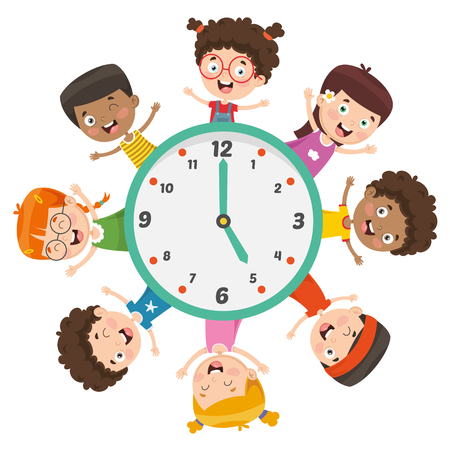 Vector Illustration Of Kids Showing Time Фото со стока - 112470156