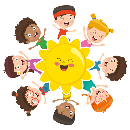 Vector Illustration Of Kids Playing Around The Sun