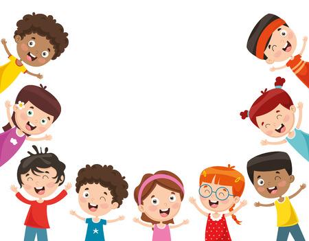 Illustrazione Vettoriale Di Bambini Felici Vettoriali