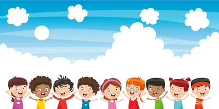 Vector Illustration Of Happy Children Vector Illustration