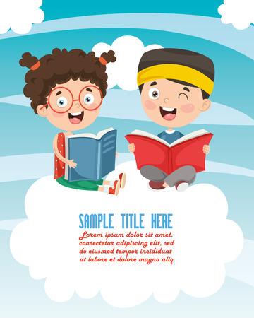 Ilustracja wektorowa dziecka czytanie książki Ilustracje wektorowe