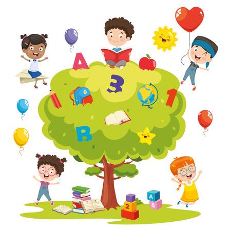 Vector Illustration Of Kids Studying On Tree