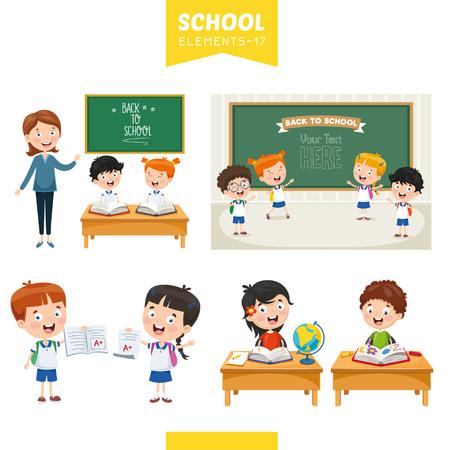Illustration vectorielle des éléments de l'éducation Vecteurs