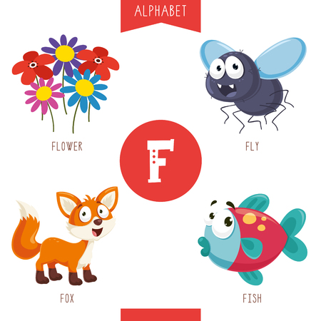 Vector Illustration Of Alphabet Letter F And Pictures Illusztráció