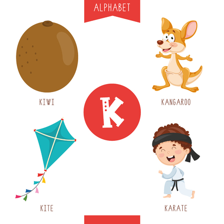 Vector Illustration Of Alphabet Letter K And Pictures Çizim