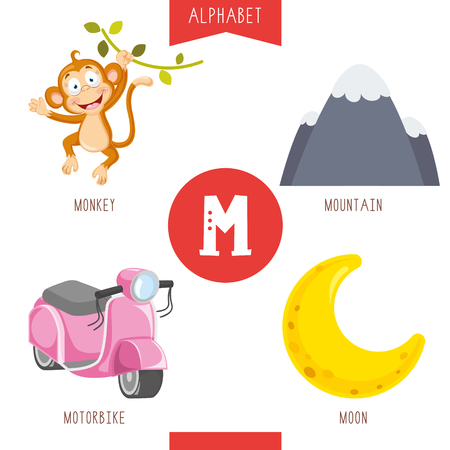 Vector Illustration Of Alphabet Letter M And Pictures Vector Illustration