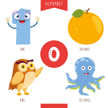 Vector Illustration Of Alphabet Letter O And Pictures