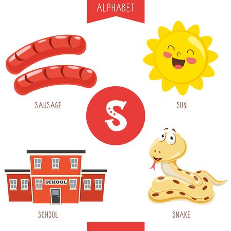 Illustrazione vettoriale di alfabeto lettera S e immagini