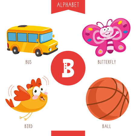 Vector Illustration Of Alphabet Letter B And Pictures