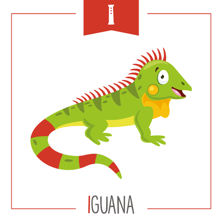 Illustration vectorielle de la lettre de l'alphabet I et de l'iguane