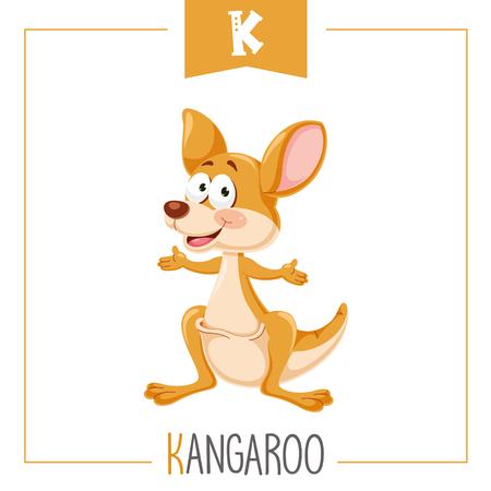 Vector Illustration Of Alphabet Letter K And Kangaroo