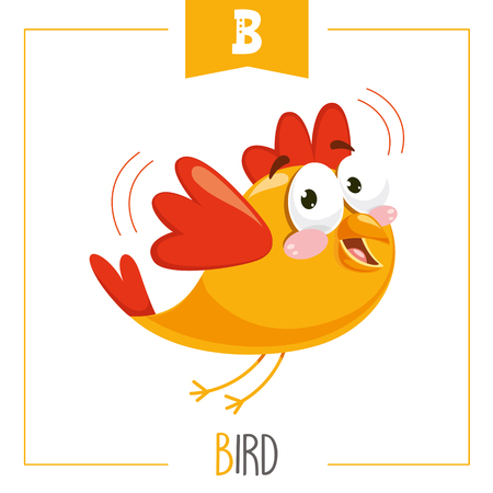 Vector Illustration Of Alphabet Letter B And Bird
