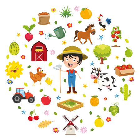 Vector Illustration Of Kids Farm Concept