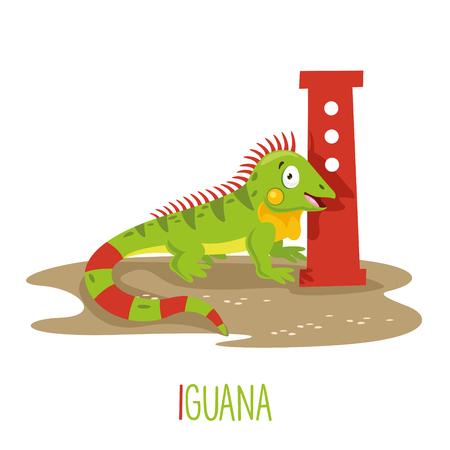 Vector Illustration Of Alphabet Letter I And Iguana