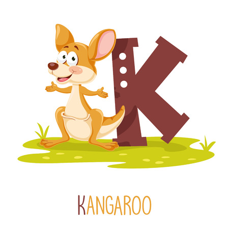 Vector Illustration Of Alphabet Letter K And Kangaroo 免版税图像 - 114294532