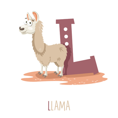 Vector Illustration Of Alphabet Letter L And Llama