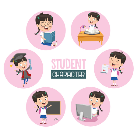 Vector Illustration Of Student Child