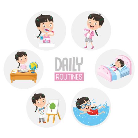 Vectorillustratie van dagelijkse routineactiviteiten voor kinderen Kid