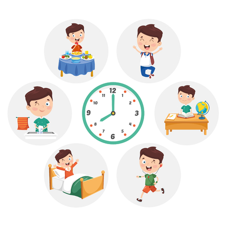 Vector Illustration Of Kid Daily Routine Activities Vettoriali