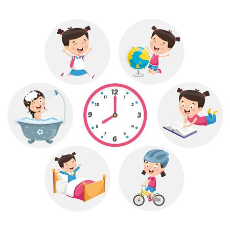 Ilustración de vector de actividades de rutina diaria para niños