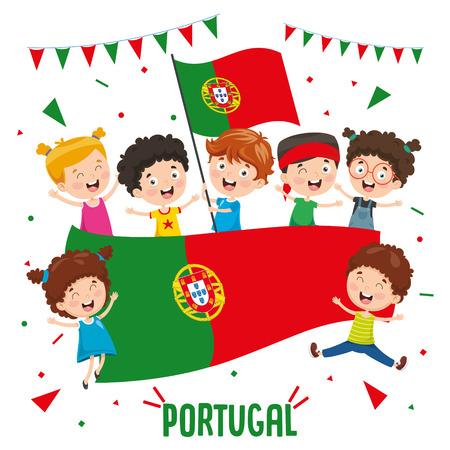 Vector Illustration Of Children Holding Portugal Flag
