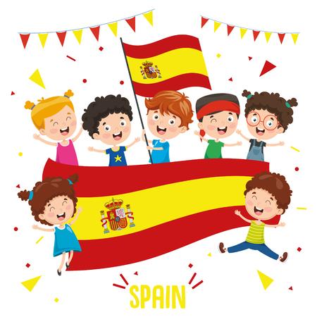 Ilustración vectorial de niños sosteniendo la bandera de España Ilustración de vector