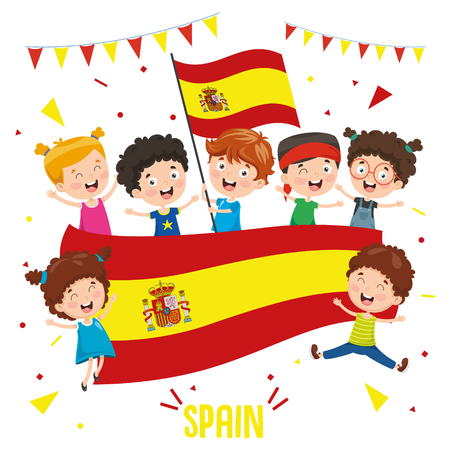 Vektor-Illustration von Kindern, die Spanien-Flagge halten Vektorgrafik