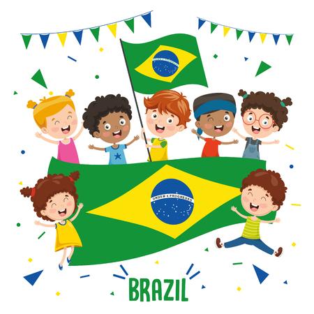 Vector Illustration Of Children Holding Brazil Flag