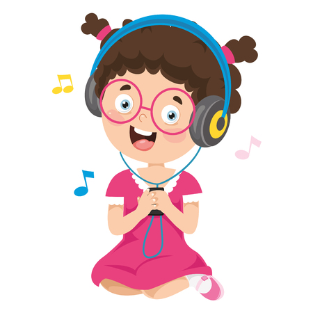Vector Illustration Of Kid Listening Music Ilustração