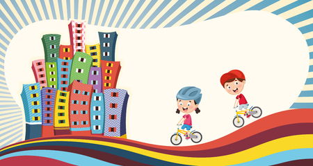 Vector Illustration Of Children Playing At City