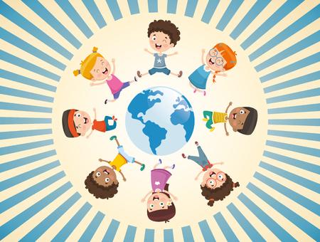 Vector Illustration Of Children Playing Around The World