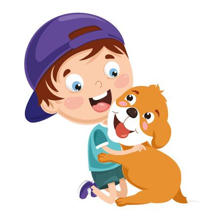 Illustration vectorielle d'enfant jouant avec chien