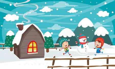 Vector Illustration Of Winter Scene Иллюстрация