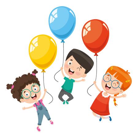 Vector Illustration Of Children With Balloon Vector Illustration