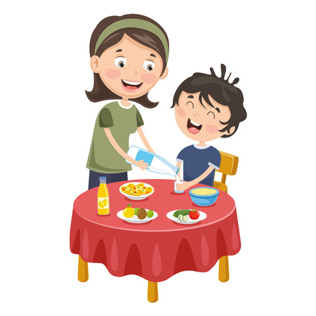 Vector Illustration Of Mother Prepare Breakfast For Kid Illustration