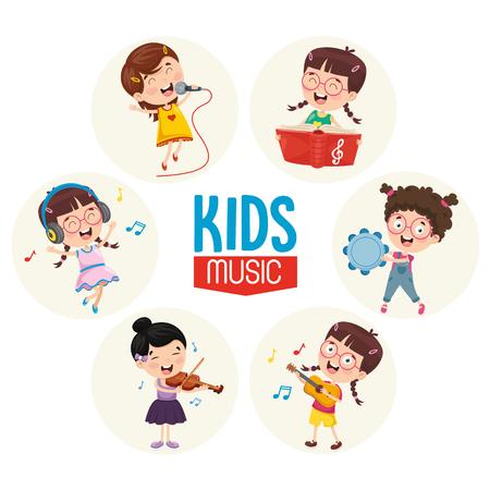 Vector Illustration Of Kids Music 矢量图像