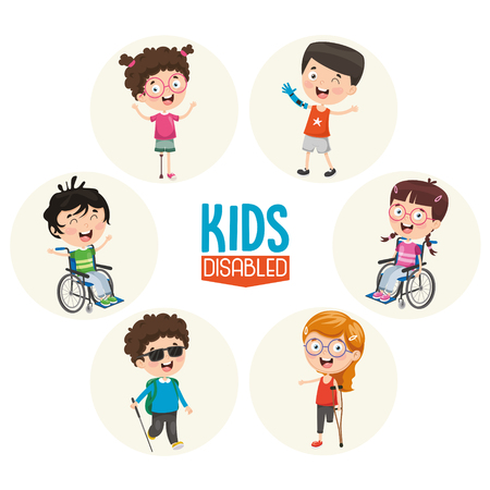 Illustration vectorielle d'enfants handicapés