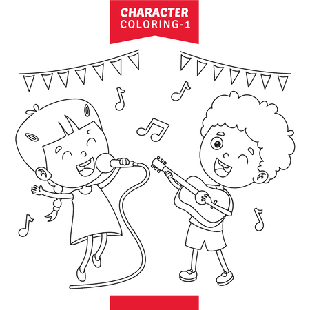 Vector Illustration Of Character Coloring Page Illustration
