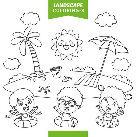 Vector Illustration Of Landscape Coloring Page Vecteurs
