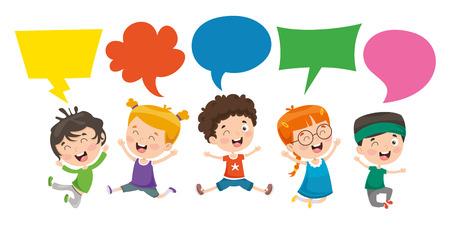 Ilustración de vector de bocadillo de diálogo de niños Logos