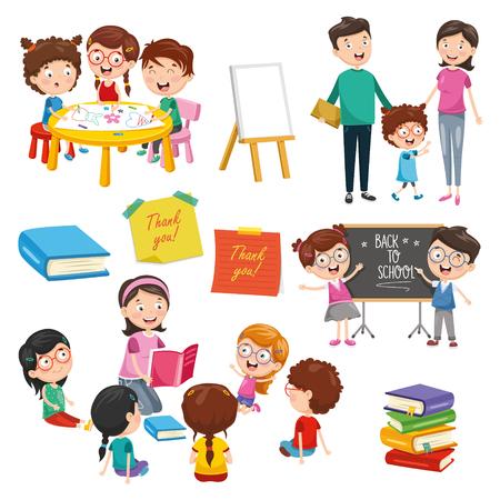 Ilustración de vector de elementos de educación
