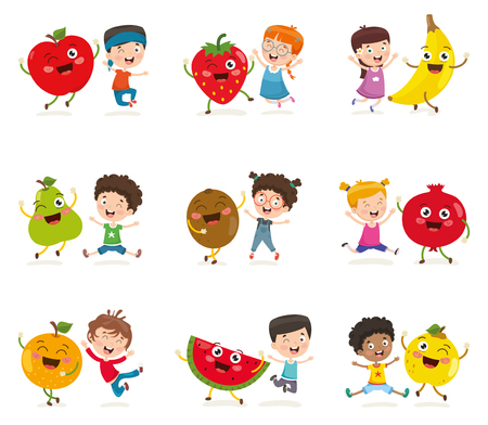 Vector Illustration Of Kids And Fruit Characters Vetores