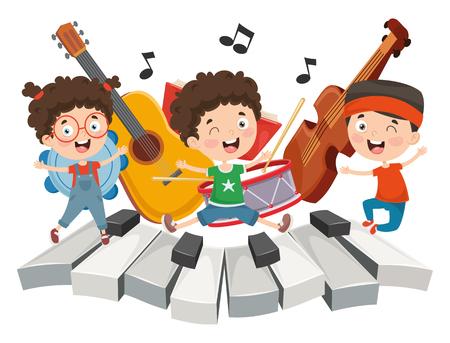 Ilustración vectorial de música infantil