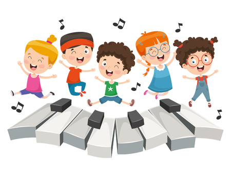 Vector Illustration Of Children Music Imagens - 114680735
