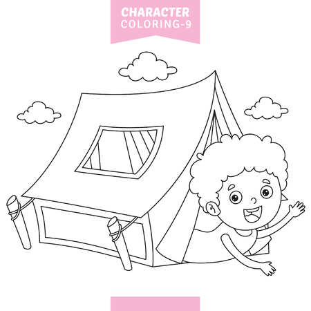 Vector Illustration Of Character Coloring Page Ilustracja