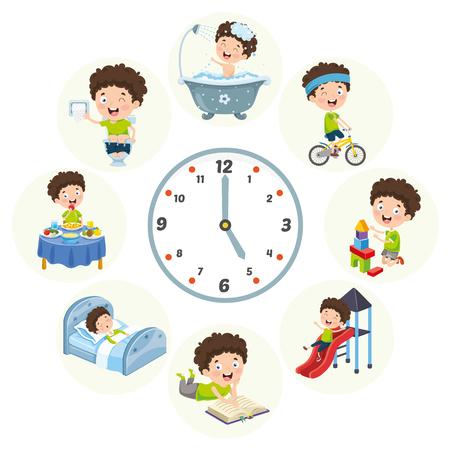 Vector Illustration Of Kids Daily Routine Activities Foto de archivo - 114778559