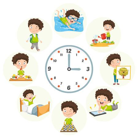 Illustration vectorielle des activités quotidiennes des enfants Vecteurs