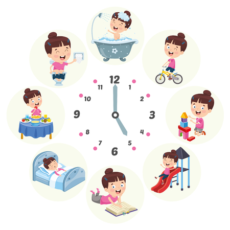 Illustrazione di vettore delle attività sistematiche quotidiane dei bambini