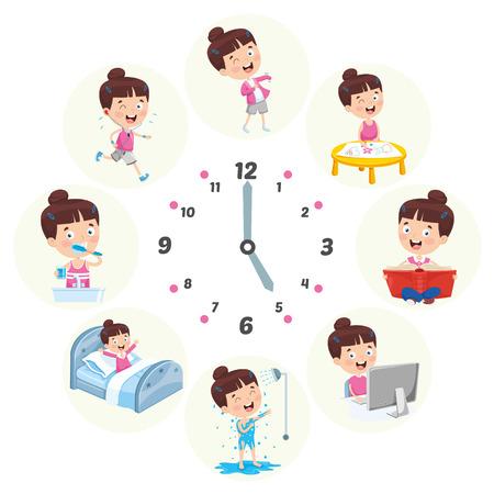 Vektor-Illustration von Kinderalltagstätigkeiten Vektorgrafik