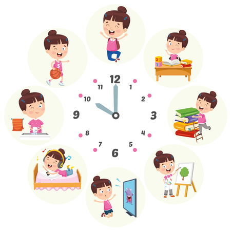 Vector Illustration Of Kids Daily Routine Activities 스톡 콘텐츠 - 114778570